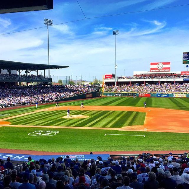 NLCS rematch. Dodgers vs Cubs. Spring training 2017 w/ @macktonight, @gjmagnone & a whole lot of Old Style - from Instagram